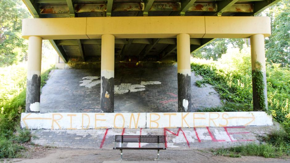 Some helpful bridge graffiti for a self-esteem boost.