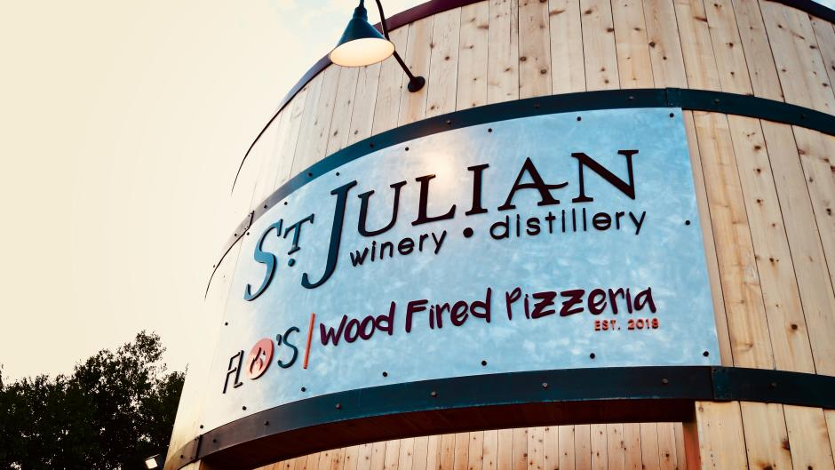 Exterior of St. Julian Winery & Distillery and Flo's Pizzeria.