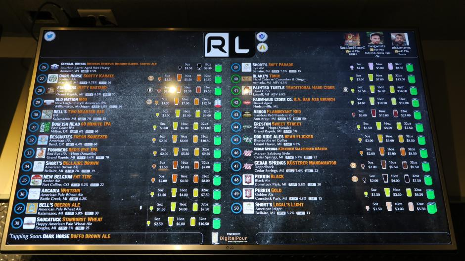 Riverside Lounge draft list