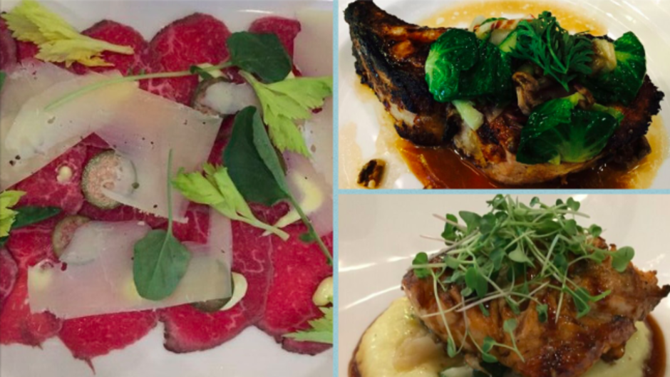 Beef Tenderloin Carpaccio, Duroc Pork Chop, and Bistro Chicken at Wheelhouse