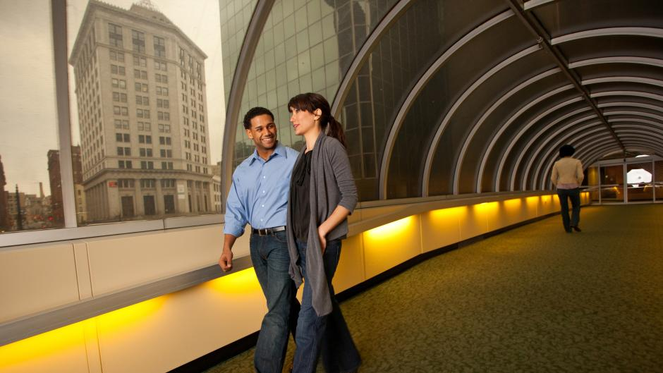 Couple on skywalk in downtown Grand Rapids