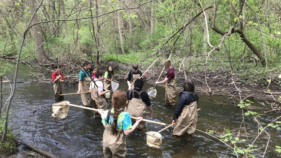 Grand Rapids students participating in the Teach for the Watershed program at WMEAC.