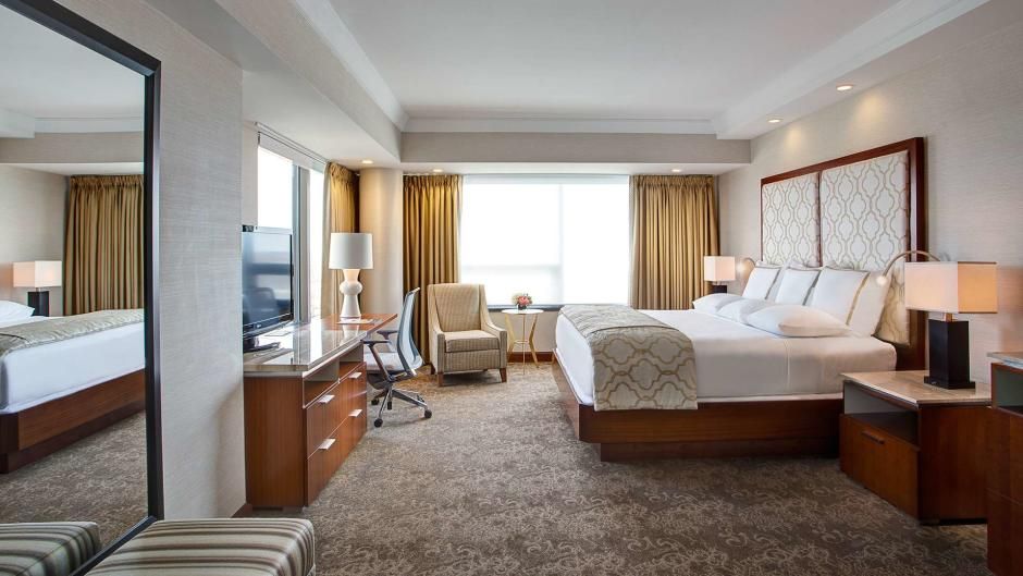 Elegant yet functional room in the Amway Grand Plaza tower.