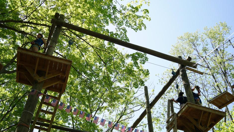 Explore zip lines, try out obstacle courses, and enjoy the views at TreeRunner Adventure Park