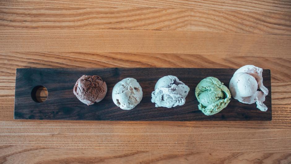 A flight of vegan ice cream from Love's Ice Cream and Chocolate.