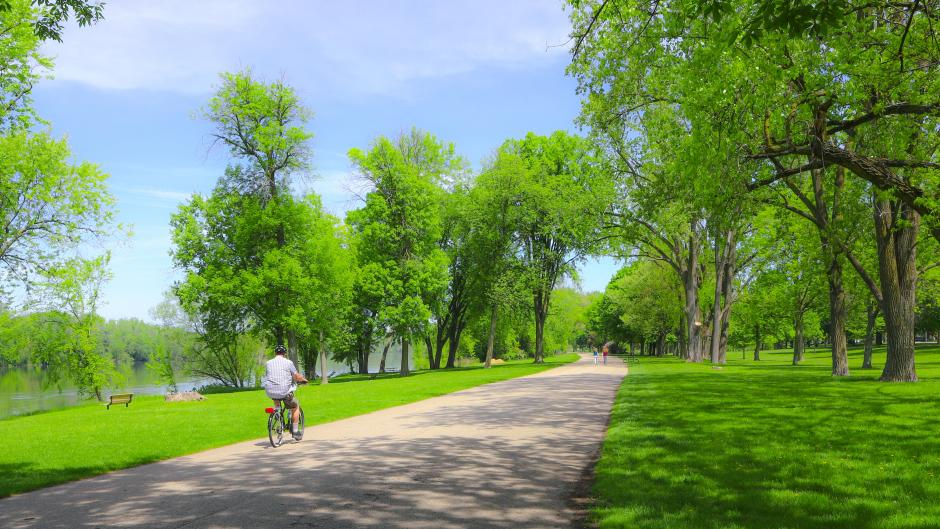 Enjoy a bike ride with a view of the Grand River along the paved, tree-lined trails at Riverside Park.