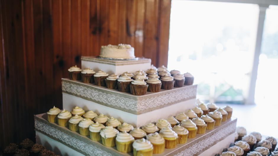 Cupcake tower at wedding.