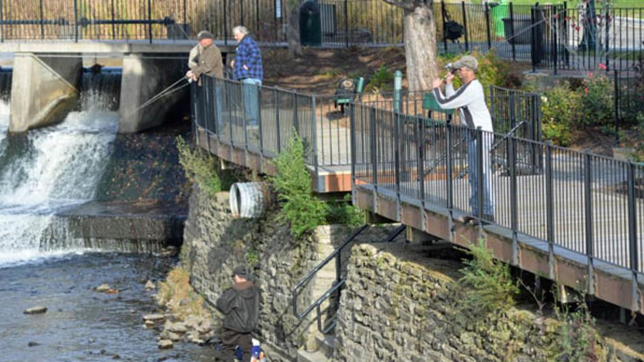 Anglers gather on the wall at Rockford Dam to fish for fall steelhead