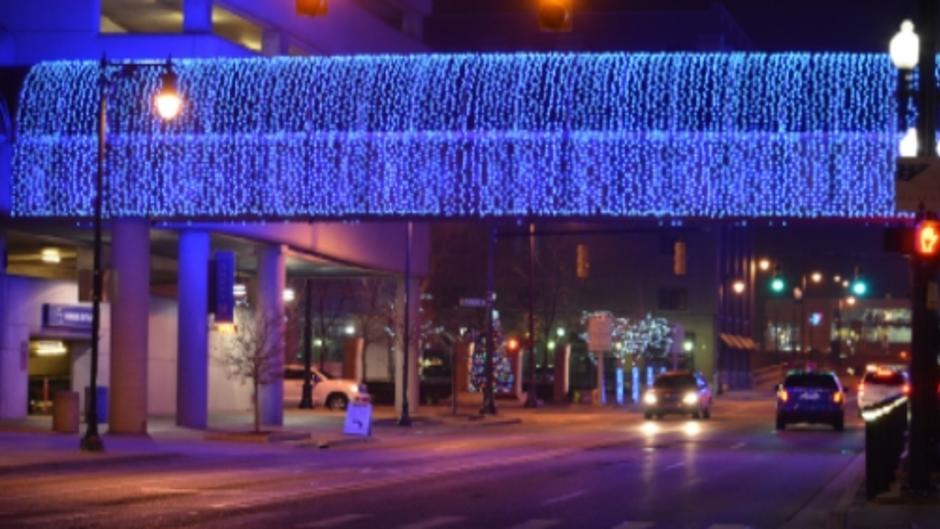 Amway Grand Plaza skywalk holiday lights downtown