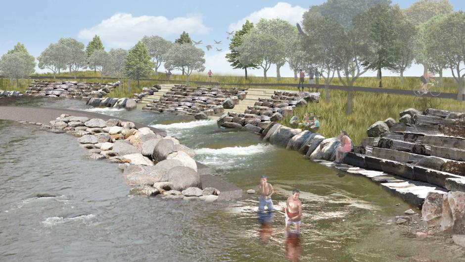 Renderings for fish passage with rocks in the Grand River part of the Whitewater Project.