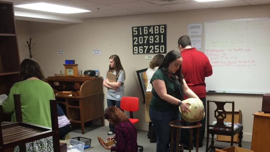 Group Inside The Library in The Great Escape Room Grand Rapids
