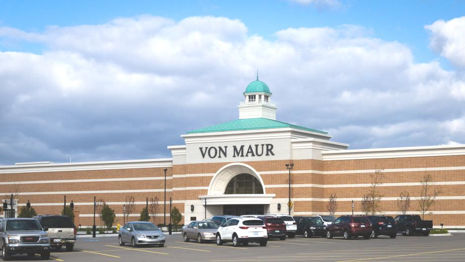 Exterior of Von Maur from across the parking lot at the Woodland Mall.