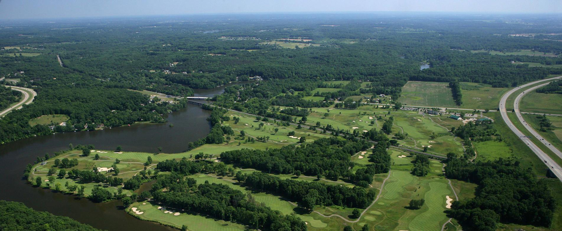 Aerial view of the Golf Club at Thornapple Pointe
