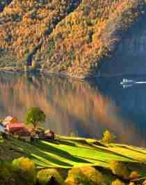 Fjordlandskapet vid Aurlandsfjorden på hösten