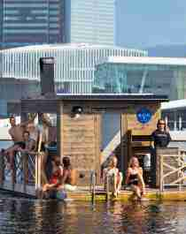 Plan your trip to Oslo and try the floating sauna KOK Oslo in the Oslofjord, Eastern Norway