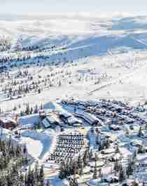 Winter in Trysil ski resort in Eastern Norway
