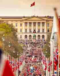 The children's parade in front of the Royal Palace in Oslo, Eastern Norway, on the Norwegian Constitution Day 17 May