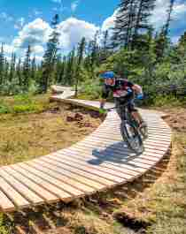 Persone in mountain bike sulla pista Magic Moose a Trysil Bike Arena, Norvegia orientale
