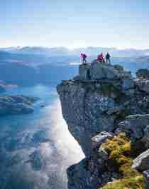 Hiking the Hornelen top in Bremanger in Fjord Norway