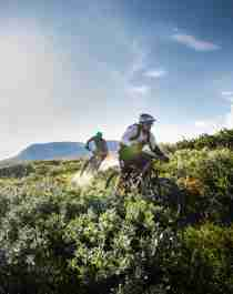 Two people mountain biking in Geilo, Eastern Norway