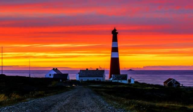 Lighthouse at Slettnes in midnight sun