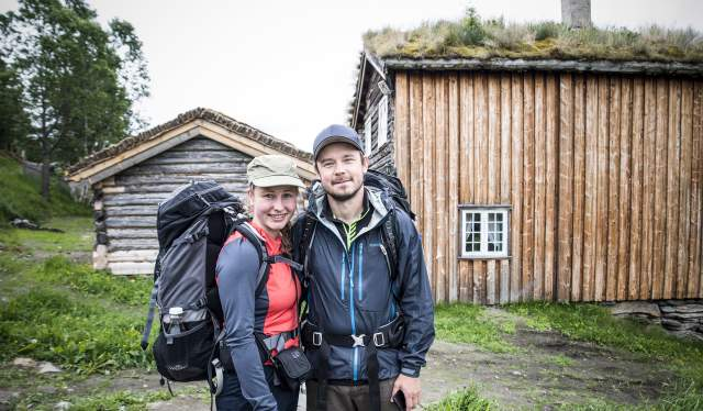 Two pilgrims at the St. Olav Ways, near Budsjord, Eastern Norway