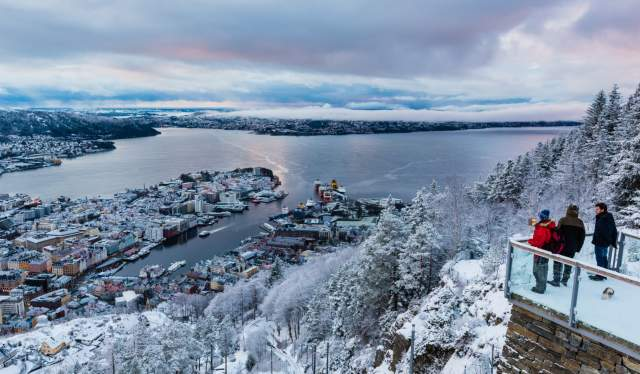 View from Mount Fløyen in Bergen, Fjord Norway, in winter