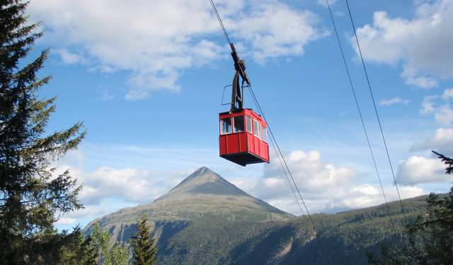 The Krossobanen cable car in Rjukan in Telemark, Eastern Norway