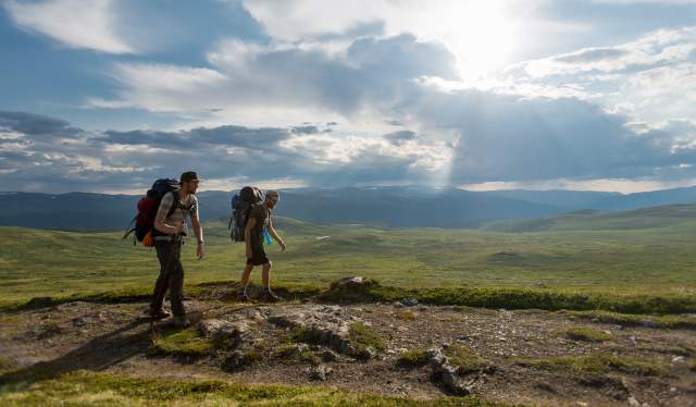 Two men wearing backpacks hiking the Gudbrandsdalen path, the pilgrim trail St. Olav Ways to Trondheim, across Dovrefjell in Eastern Norway