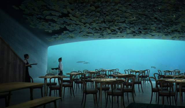 Inside the underwater restaurant Under in Lindesnes, Southern Norway