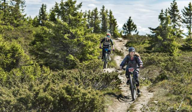 Zwei Cross-country-Mountainbiker in Hafjell, Ostnorwegen