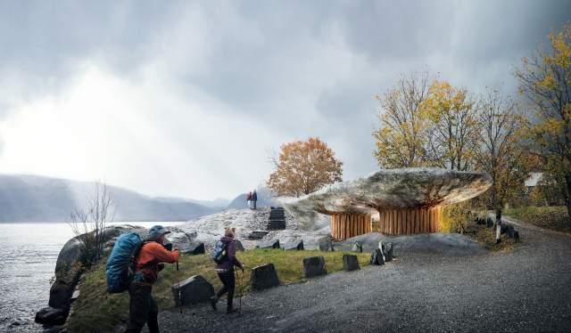 Illustration of new restrooms at Tyrvefjøra, Norwegian Scenic Route Hardanger in Fjord Norway