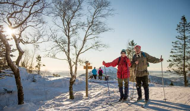 Elderly couple cross-country skiing at Mount Fløyen in Bergen, Fjord Norway