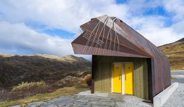 Restroom at Oscarshaug, Norwegian Scenic Route Sognefjellet in Fjord Norway