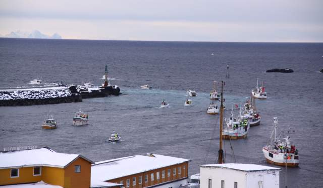 Fishing boats participating in The world cod fishing championship in Lofoten, Northern Norway