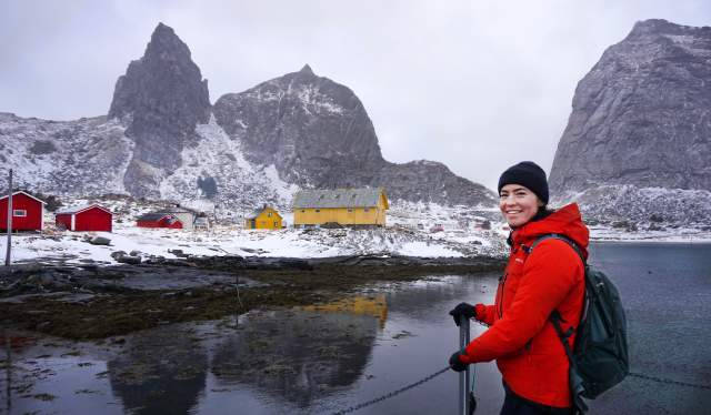 A woman on the Sanna Island, part of the Træna islands on the Helgeland coast of Northern Norway