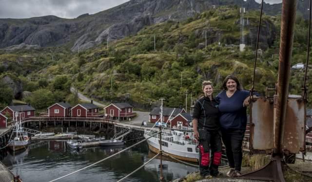 Renate Johansen and Eirin Johansen in the fishing village Nusfjord in Lofoten, Northern Norway