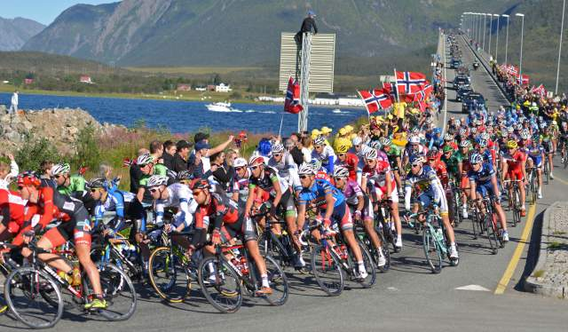 The peleton in the Arctic Race of Norway cycling over the Sortland bridge in Vesterålan, Northern Norway