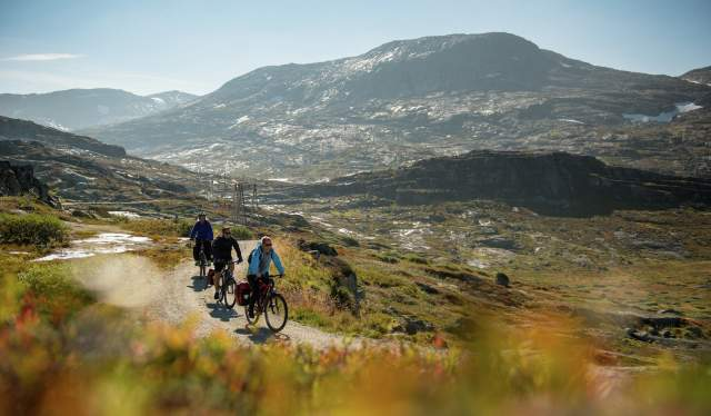 Cyclists on the Rallarvegen bike route in Fjord Norway