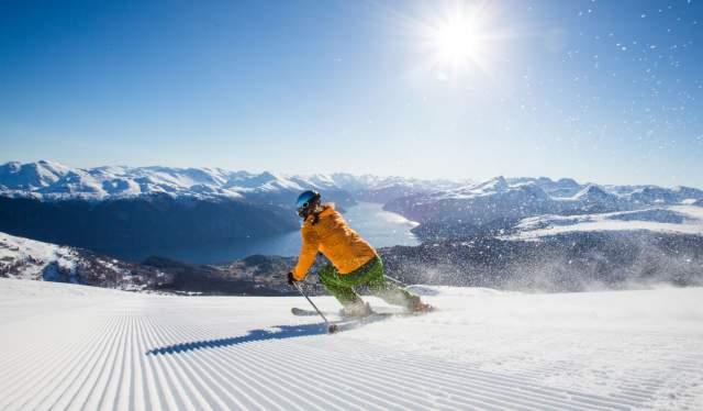 Alpine skier at Strandafjellet, Fjord Norway
