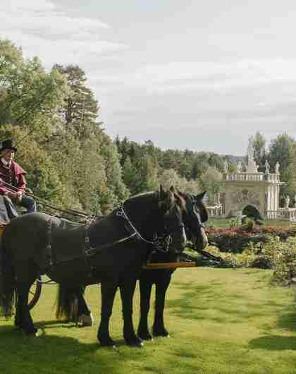 Mensen in een paardenkoets in het Havlystparken-park in de cultuurbestemming Ramme Gård in Hvitsten aan het Oslofjord in Oost-Noorwegen