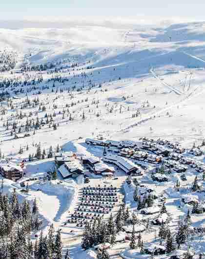 Winter in Trysil ski resort in Eastern Norway