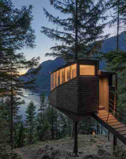 Woodnest Odda tree house, one of Norway's many treetop cabins