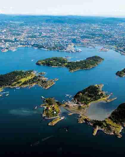 Øyene i indre Oslofjord på Østlandet om sommeren