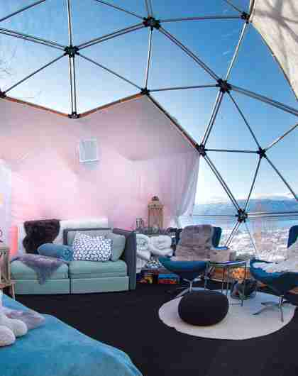Inside the Arctic Dome glamping tent in Narvik, Northern Norway