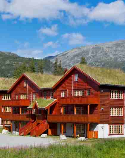 Apartment buildings in Hemsedal, Norway