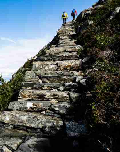 To people hiking the Midsuntrappene mountain stairway to Rørsethornet near Molde, Norway