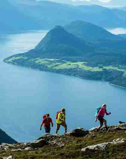 Hiking the Romsdalseggen ridge in Åndalsnes, one of the top hikes in Fjord Norway