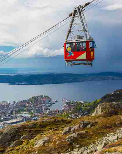 The Ulriken cable car above Bergen city, Fjord Norway