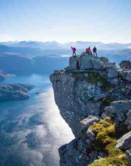 Hiking the Hornelen top in Bremanger in Fjord Norway